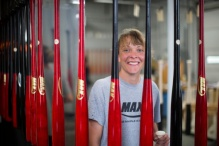 Brenda Schmitz working in the Max Bat factory in Brooten, MN